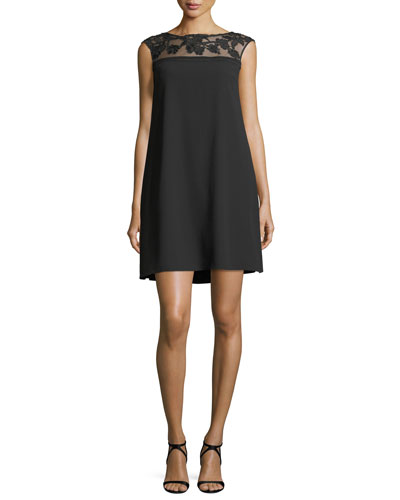 Sheer-Illusion Insert A-line Crepe Cocktail Dress