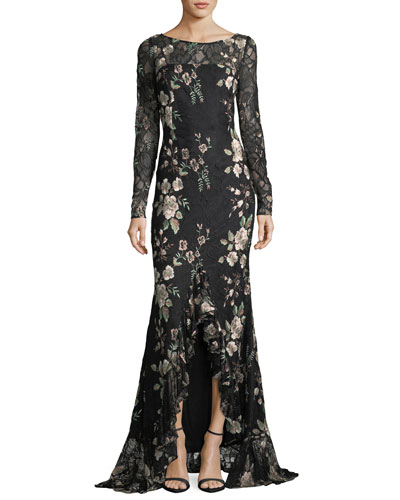Bobbie Bateau-Neck Embroidered Lace Evening Gown