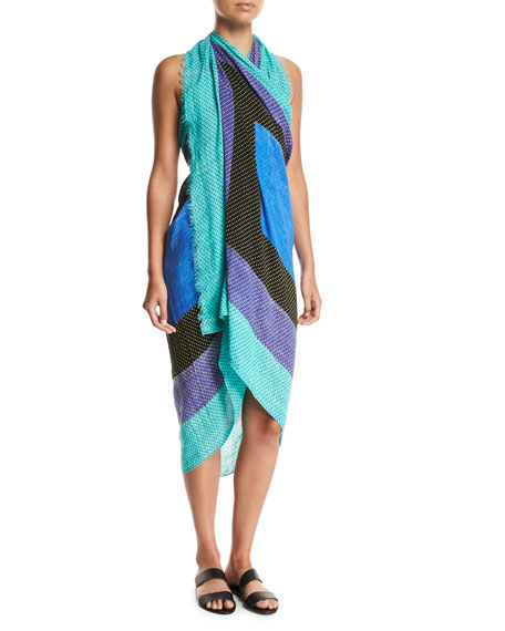 Ellry Dotted Swim Coverup Pareo Scarf, One Size