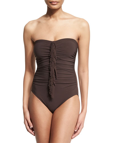 Fringe-Front Bandeau One-Piece Swimsuit