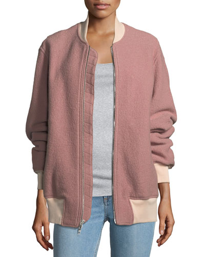 Elle Zip-Front Virgin Wool Bomber Jacket