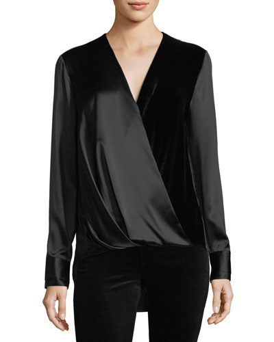 Victor Surplice-Neck Long-Sleeve Silk Blouse with Velvet