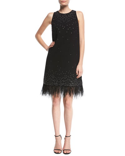 Beaded Crepe Cocktail Dress w/ Feather Trim