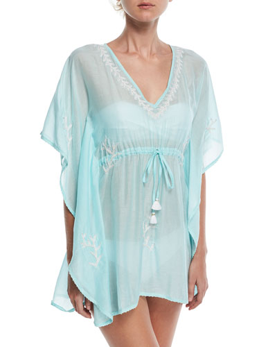 V-Neck Embroidered Lace Coverup