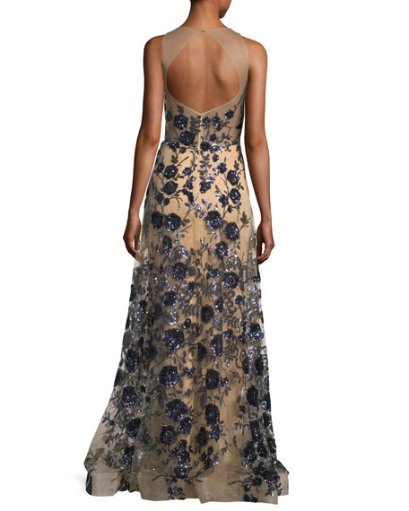 Floral Bustier Illusion Long Evening Gown