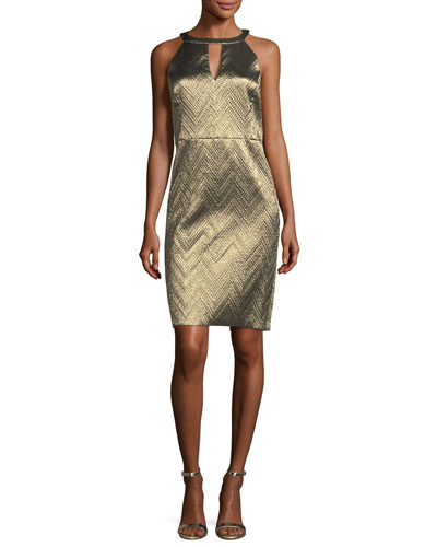 Metallic Zigzag Jacquard Cocktail Dress