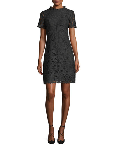 short-sleeve tapestry lace a-line dress
