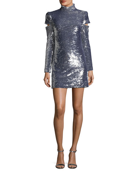 Disco Mock-Neck Slit-Sleeves Sequined Mini Cocktail Dress