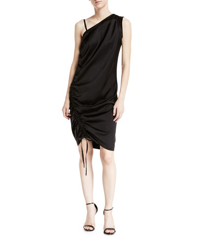 One-Sleeve Asymmetric Ruched Dress