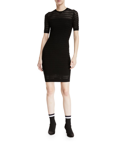 Float-Stitch Lace Short-Sleeve Body-con Dress