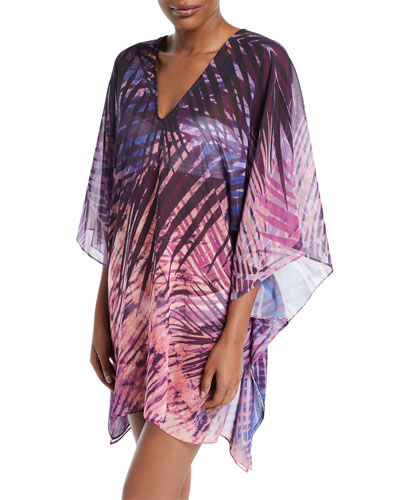 Rain-Forest Printed Caftan Coverup