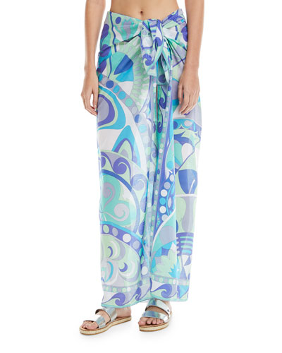 Printed Pareo Cotton Coverup