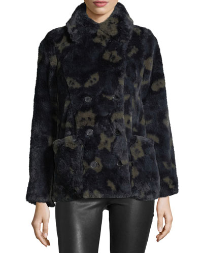 Miles Leao Double-Breasted Printed Faux-Fur Coat