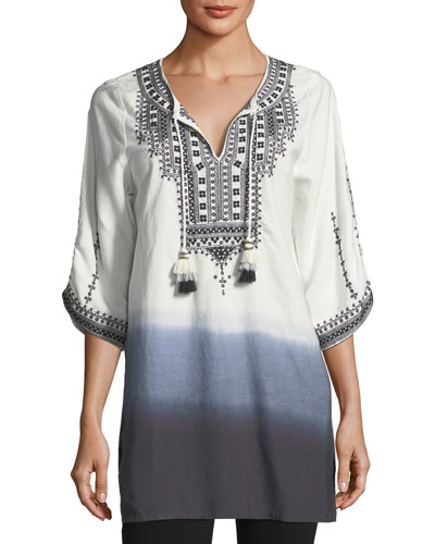 Aria Embroidered Tie-Dye Tunic