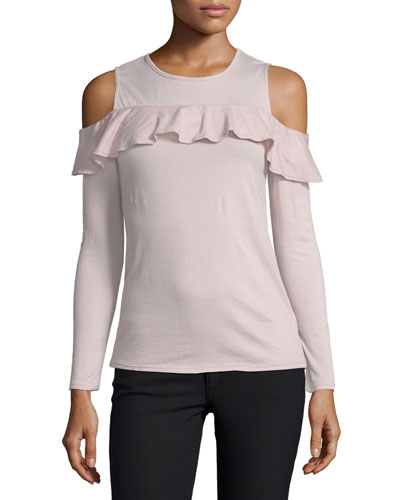 Pepia Cold-Shoulder Top with Ruffled Frills