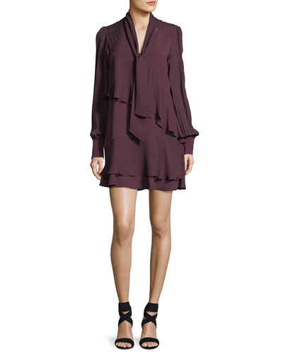 Kenji Tie-Neck Long-Sleeve Tiered Ruffle Short Dress
