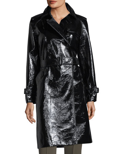 Patent Belted Double-Breasted Trench Coat