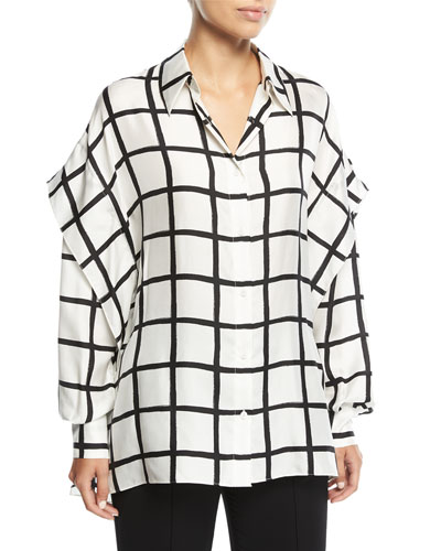 Grid-Print Button-Down Long-Sleeve Silk Short