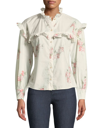 Maia Long-Sleeve Floral-Print Cotton Top w/ Ruffled Trim