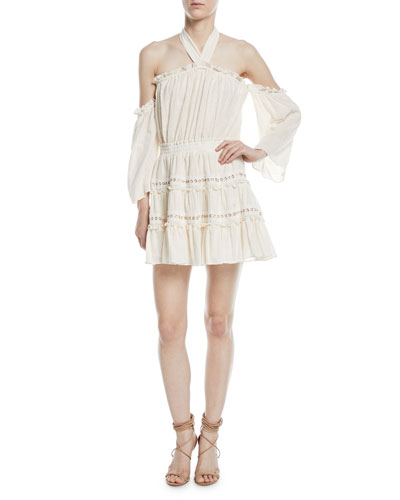 Kerry Off-the-Shoulder Tiered Ruffle Gauze Skirt