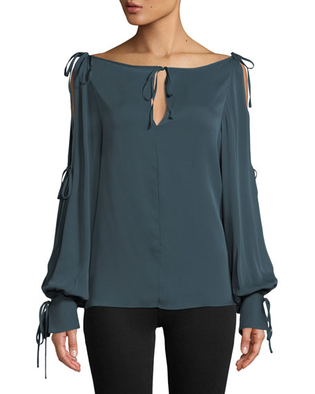 Cheap Visit New Connie Silk-Stretch Top with Ties Milly Outlet Best Sale Cheapest E5yiS