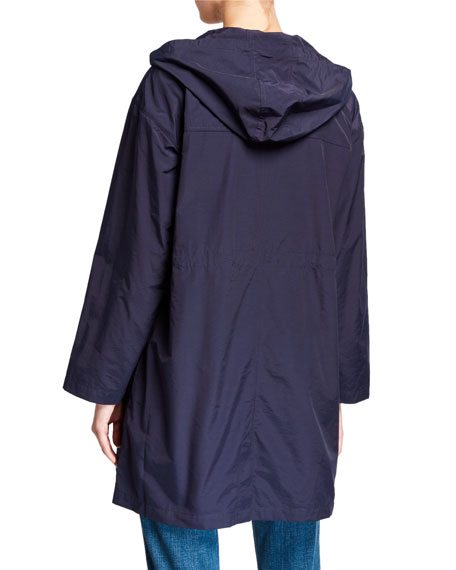 Eileen Fisher Plus Size Organic Cotton/Nylon Hooded Long Jacket
