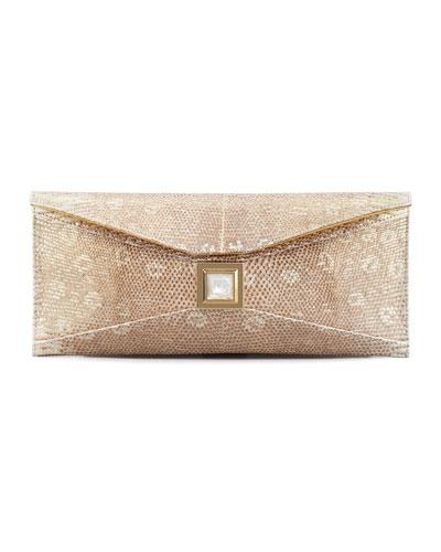 Prunella Stretch Lizard Clutch Bag, Gold