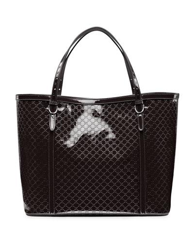 Gucci Nice Microguccissima Patent Leather Tote, Black