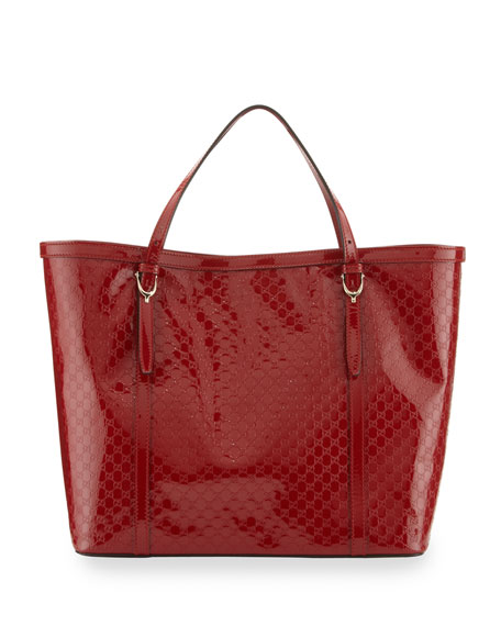 Gucci Nice Microguccissima Patent Leather Tote Red