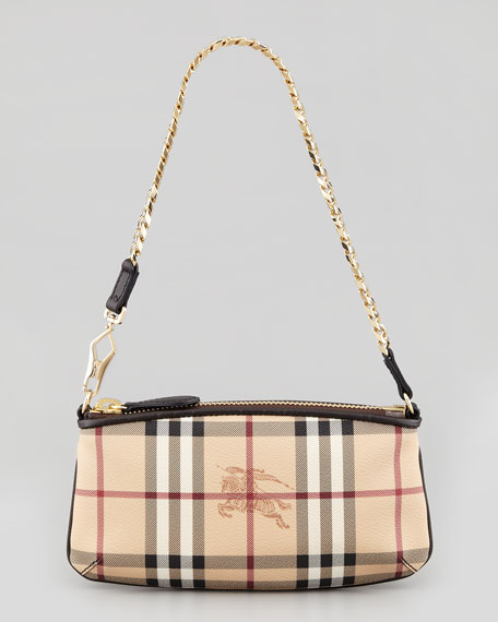 5eacf0a38c2 Burberry Small Haymarket-Check Shoulder Bag, Chocolate
