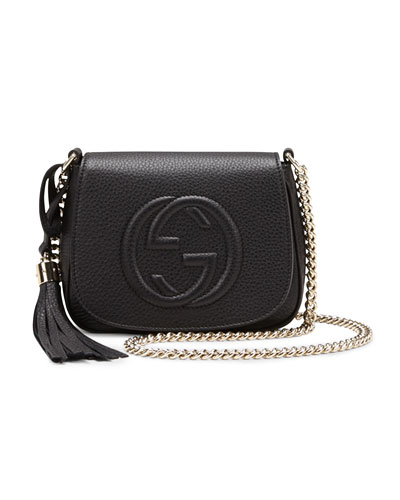 Soho Leather Chain Crossbody Bag, Black