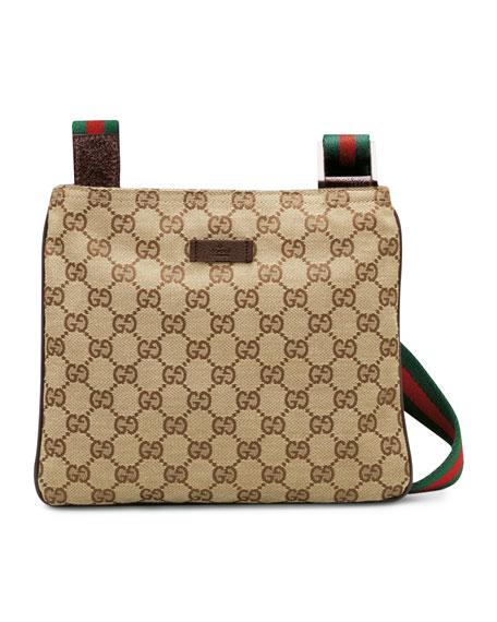 19fd63b2a18 Gucci Original GG Canvas Messenger Bag with Signature Web Strap, Brown