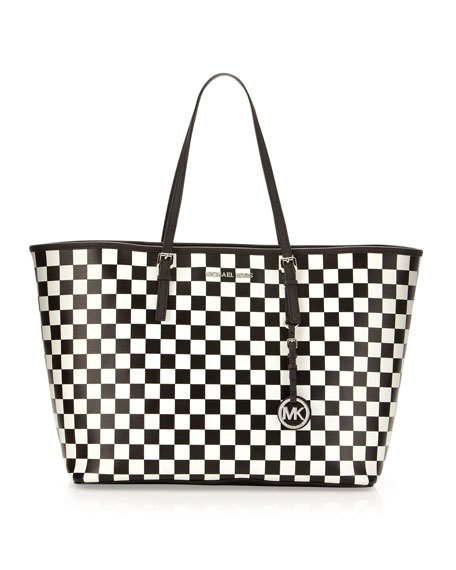 2e26e84b2cc0e8 MICHAEL Michael Kors Medium Jet Set Checkerboard Saffiano Travel Tote