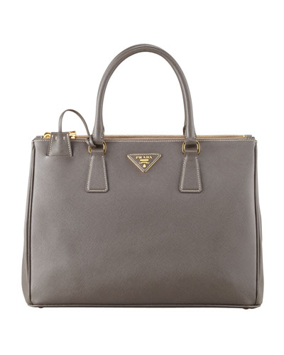 Saffiano Double-Zip Executive Tote Bag, Gray (Argilla)