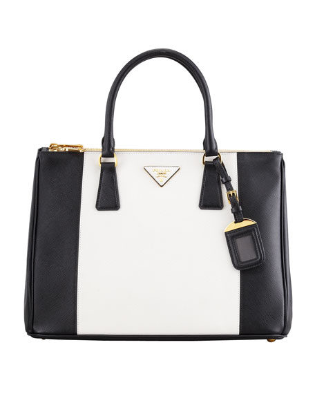 Bicolor Saffiano Double Zip Tote Bag Black White
