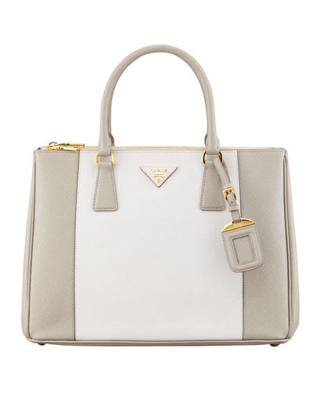 ef532e18d995 Prada Bicolor Saffiano Double-Zip Tote Bag, Gray/White