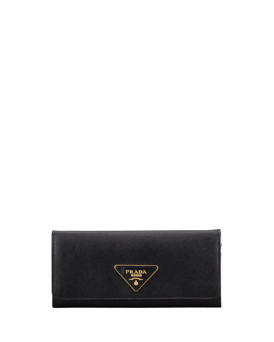 Saffiano Triangle Continental Flap Wallet, Black (Nero)