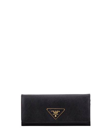 b515d6e5d7339f Prada Saffiano Triangle Continental Flap Wallet, Black (Nero)