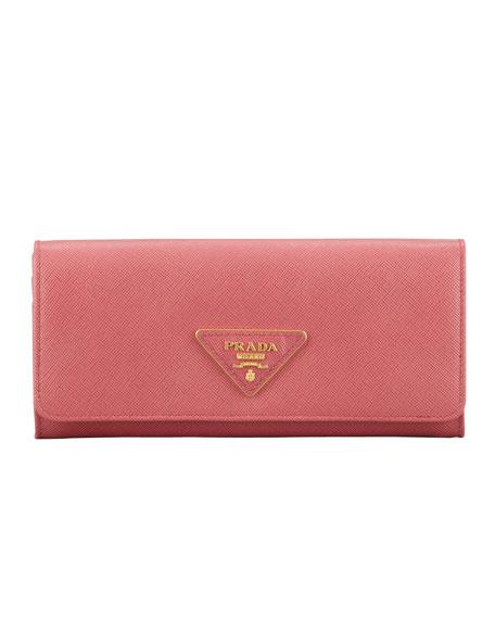 457910290be0 Prada Saffiano Triangle Continental Flap Wallet