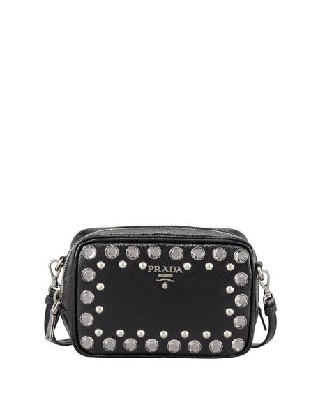 45ba152a54dd5d Prada Saffiano Studded Mini Zip Crossbody Bag, Black (Nero)