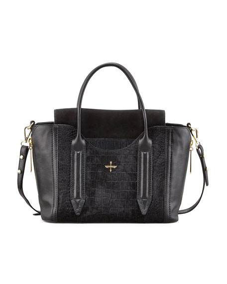 Provence Embossed Calf Hair Leather Tote Bag Black