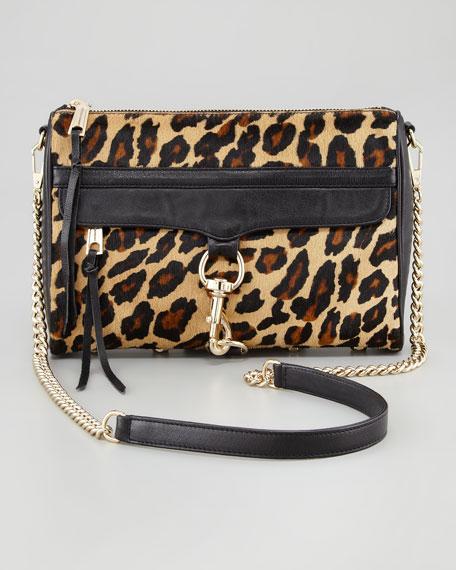 M A C Leopard Print Calf Hair Crossbody Bag