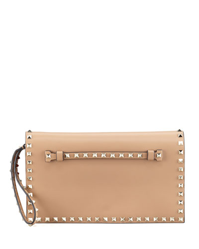 Rockstud Flap Wristlet Clutch Bag, Tan