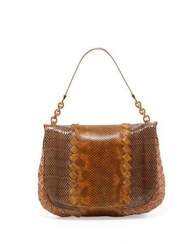 Small Snake Flap Shoulder Bag, Multi