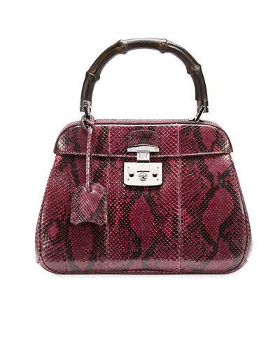 Lady Lock Python Medium Top Handle Bag, Wine