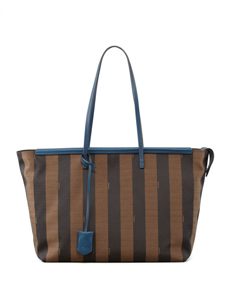 b840a40138 Fendi Pequin-Striped Roll Tote Bag