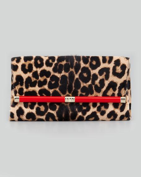 3e3308b04 Diane von Furstenberg 440 Leopard-Print Calf Hair Clutch Bag