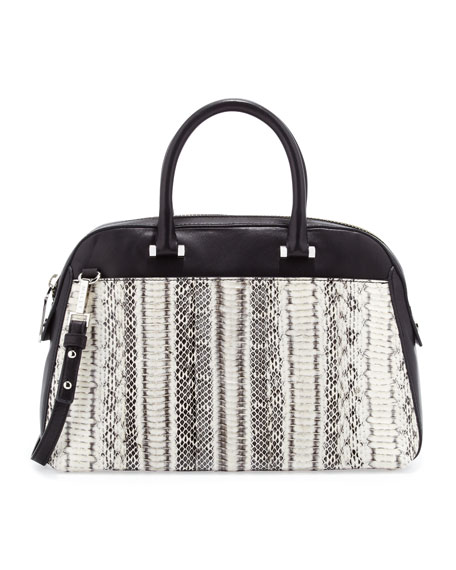565fadfb14c83f Milly Mercer Snakeskin Satchel Bag, Black/White