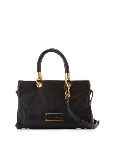 Too Hot to Handle Zip Satchel Bag, Black