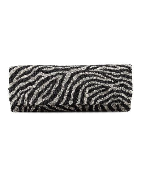 Moyna zebra print beaded clutch bag black silver